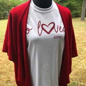 The Shoul - red wrap / shawl / mini poncho